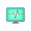 beat, cartoon, electrocardiogram, heartbeat, monitor, pulse icon