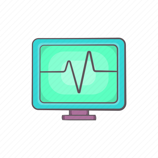 beat, cartoon, electrocardiogram, heartbeat, monitor, pulse icon