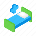 bed, clinic, cross, hospital, isometric, medical, stretcher icon