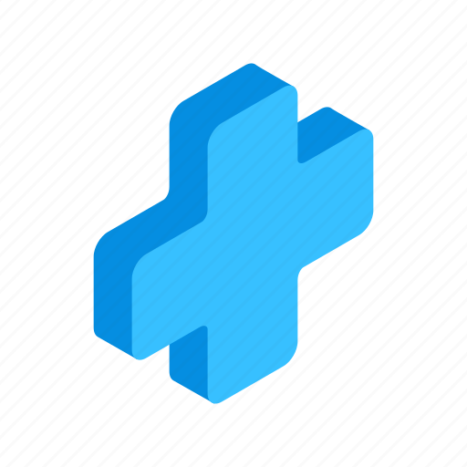 aid, cross, emergency, first, isometric, medical, shape icon