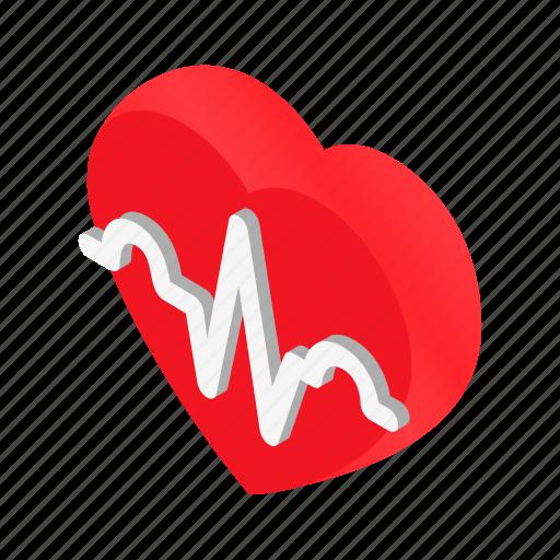 beat, ekg, heart, heartbeat, isometric, life, patient icon