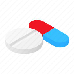 chemistry, dose, drug, isometric, pill, stylized, tablet icon