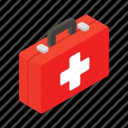aid, bag, emergency, health, isometric, kit, medical icon