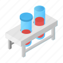 chemistry, flask, fluid, glass, isometric, test, tube icon
