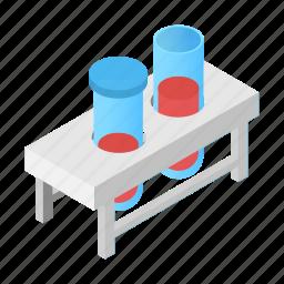 chemistry, flask, fluid, glass, isometric, test, tube icon