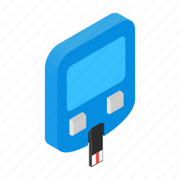 glucometer, insulin, isometric, meter, pharmaceutical, portable, test icon