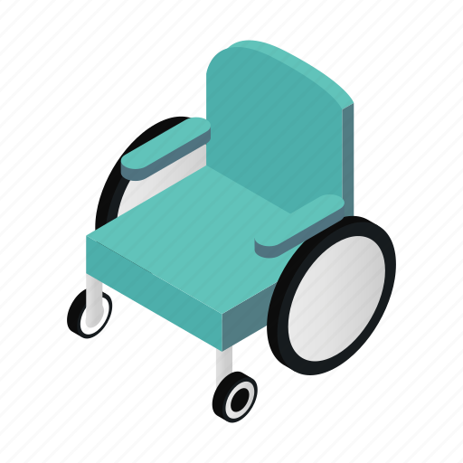 carriage, handicapped, hospital, isometric, move, silhouette, wheelchair icon