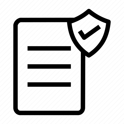 document, file, report, sheet, shield icon