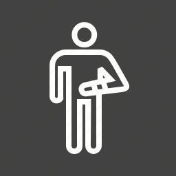 bandage, broken arm, first aid, human, hurt, injured person, injury icon