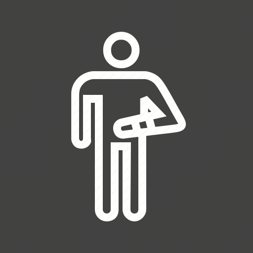bandage, broken arm, first aid, human, hurt, injured person, injury icon