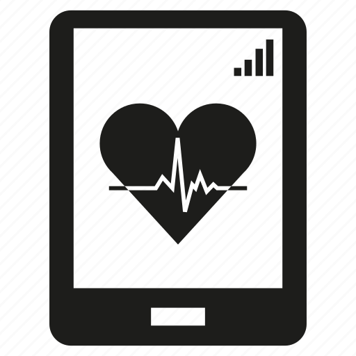 heart, heart rate, medical, mobile, phone, signal icon