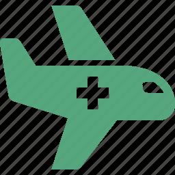 air ambulance, airplane, emergency, first aid icon