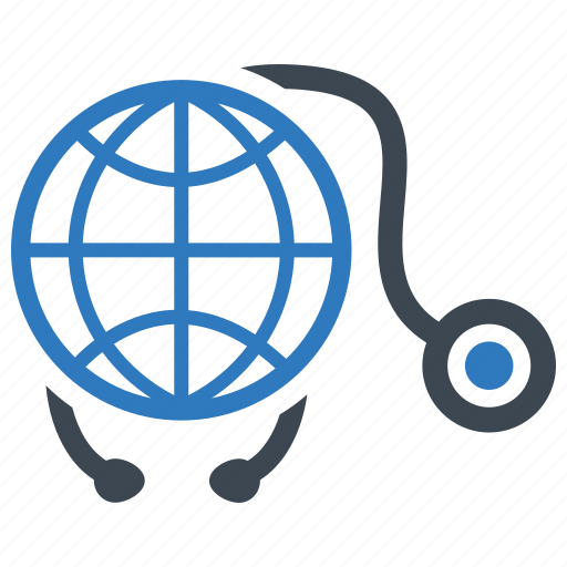 global healthcare, medical, stethoscope icon