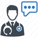 doctor, medical help, medical question icon