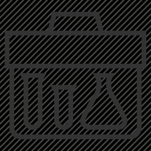 case, line, outline, portfolio, research, test, tube icon