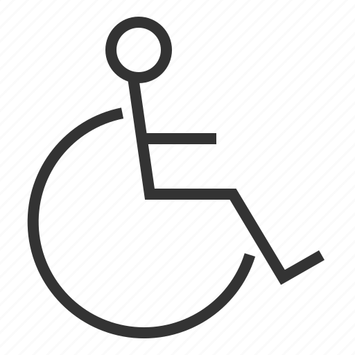 disable, line, man, outline, people, person, wheelchair icon