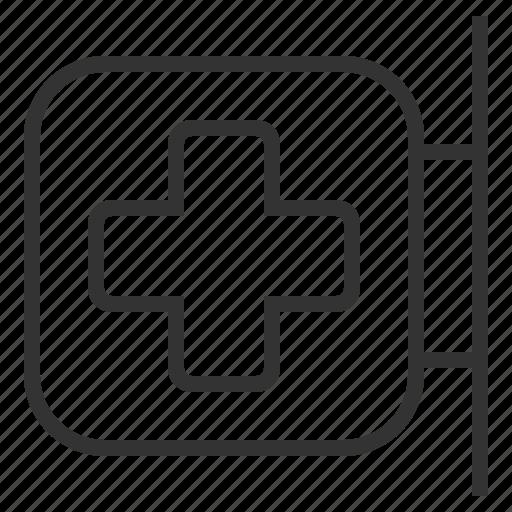 cross, hospital, line, medical, outline, pharmacy icon