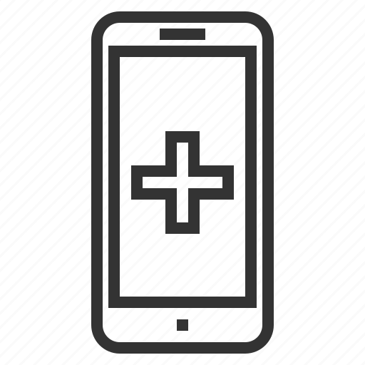 app, cross, line, medical, outline, smartphone icon
