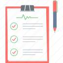 checklist, clipboard, diagnosis, document, medical, record, treatment icon