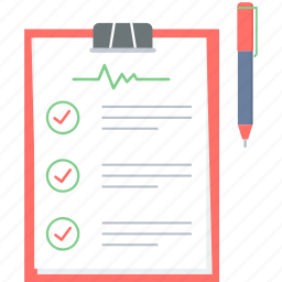checklist, clipboard, diagnosis, document, medical, record, treatment icon