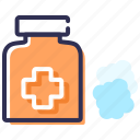 aid, alcohol, antiseptic, cleaning solution, injury, sponge icon