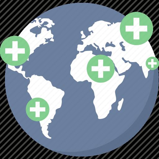 global, global hospital, gps, healthcare, hospital, hospital location, medical icon
