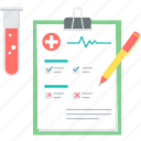 report, test, analytics, clipboard, diagnosis, blood test, medical file icon