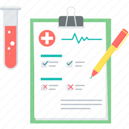 analytics, blood test, clipboard, diagnosis, medical file, report, test icon