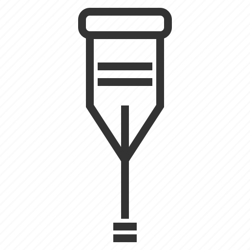 crutch, line, outline, support icon