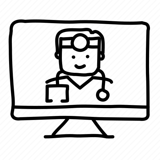 computer, doctor, health, hospital, medical, physician, sketch icon