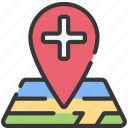 health care, hospital, location, medical, pin icon