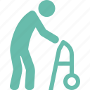 gerontology, old man, walker icon