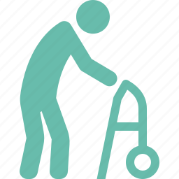 gerontology, old man, walker icon