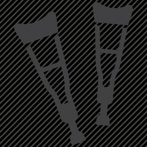 broken, crutches, leg icon