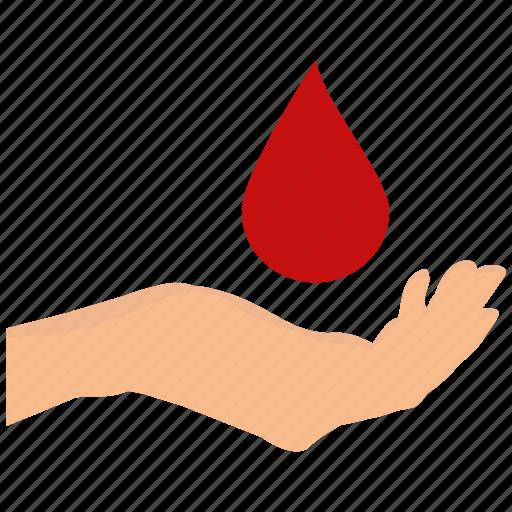 blood, deliver, delivery, drop, hand, medicine, red icon