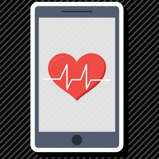 analytics, diagram, ecg, ekg, medicine, mobile, pulse icon