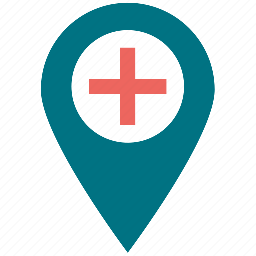 hospital, location, medical, navigation icon