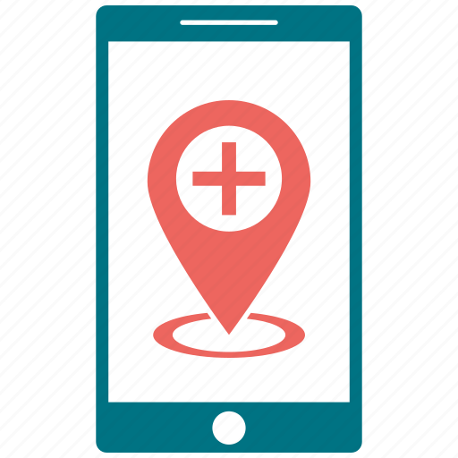 hospital, location, medical, mobile, navigation icon