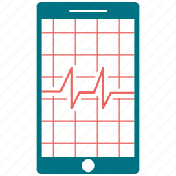 analytics, diagram, ecg, ekg, medicine, mobile, pulse icon