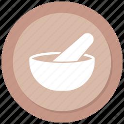 medicine, mortar, pestle, pharmacy icon