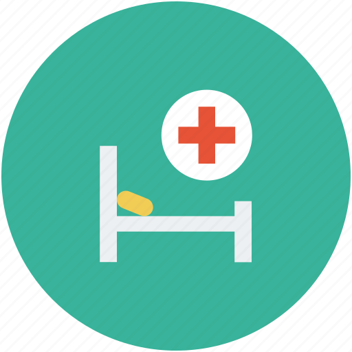 bed for patients, hospital, patient bed, stretcher icon