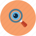 analyzing eye, eye, eye with loupe, magnifier icon