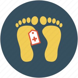 feet, foot steps, human, tag on feet icon