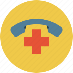 emergency, hospital telephone number, medical communications, telephonic icon