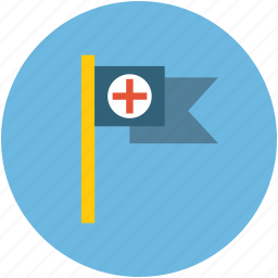 healthcare flag, medical flag, medical sign, red cross flag icon