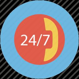 call service, service, seven days, twenty four hours icon