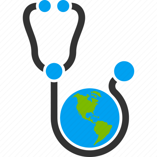 global healthcare, health care, international assistance, medical, medication, medicine, stethoscope icon