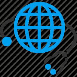 global healthcare, globe, health, international assistance, medical, medicine, stethoscope icon