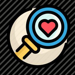 health, heart, magnifying, medical, medicine icon