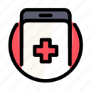 call, cross, health, medical, medicine, phone, smartphone icon